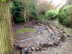 Pond rebuild & garden design in Devon