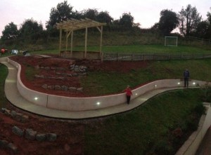 Plant-A-Seed-Garden-Design-Crediton-Devon-roud-curved-path-with-spot-light